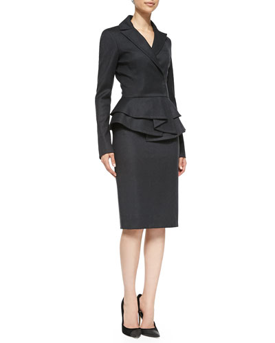 Oscar de la Renta Long-Sleeve Ruffle Peplum Jacket & Straight Pencil Skirt