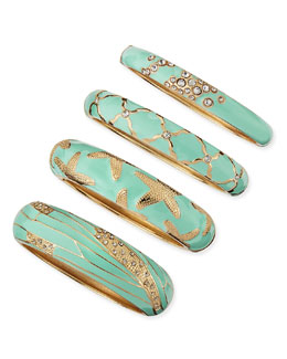 Sequin Assorted Mint Enamel Bangles