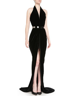 Oscar de la Renta Velvet Halter Evening Dress and Metal Waist Belt