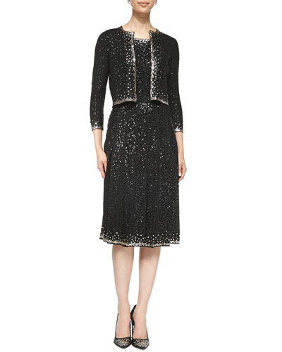 Oscar de la Renta Beaded Cropped Knit Cardigan and Sleeveless Beaded Silk Dress