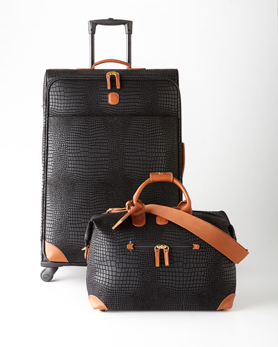 Bric's Black Crocodile-Embossed Safari Luggage