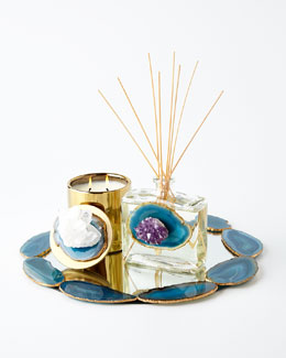 Blue Stone Reed Diffuser, Candle, & Tray