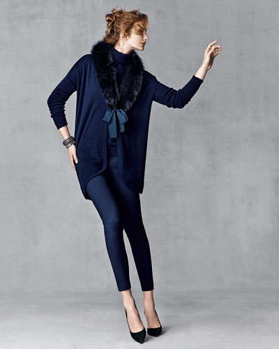 Magaschoni Cashmere Cardigan w/ Fox Fur Collar, Cashmere-Blend Turtleneck Sweater & Crosby Textured Ankle Pants