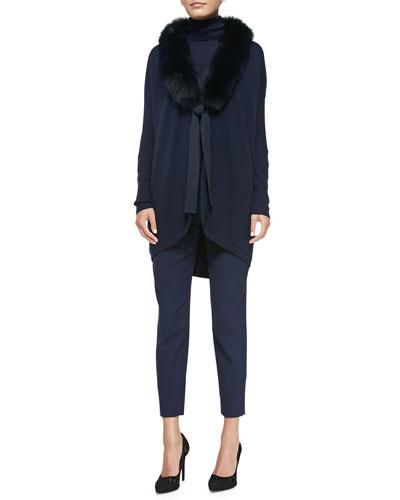 Cashmere Cardigan w/ Fox Fur Collar, Cashmere-Blend Turtleneck Sweater & Crosby Textured Ankle Pants
