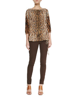 MICHAEL Michael Kors  Mixed-Print Batwing Top & Rocker Zip-Pocket Skinny Pants