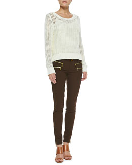 MICHAEL Michael Kors  Wide-Stitch Knit Sweater & Rocker Zip-Pocket Skinny Pants