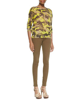 MICHAEL Michael Kors  Camo-Print Knit Sweater & Zip-Pocket Skinny Jeans
