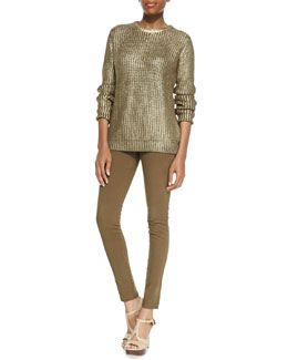 MICHAEL Michael Kors  Metallic Knit Sweater & Zip-Pocket Skinny Jeans