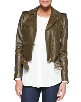 MICHAEL Michael Kors Cropped Leather Moto Jacket & Double-Layer Long-Sleeve Blouse