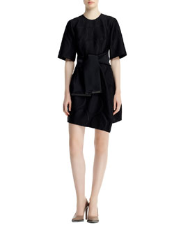 Stella McCartney Halo-Dot Dress & Jacquard Sash Belt with Metal Trim