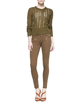 MICHAEL Michael Kors  Open-Stitch Knit Sweater, Scoop-Neck Slim Tank & Zip-Pocket Skinny Jeans