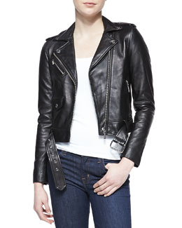MICHAEL Michael Kors  Cropped Belted Moto Jacket & Scoop-Neck Slim Tank