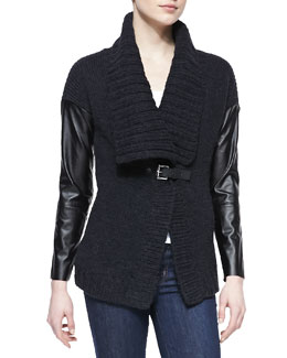 MICHAEL Michael Kors  Leather-Sleeve Knit Cardigan & Scoop-Neck Slim Tank