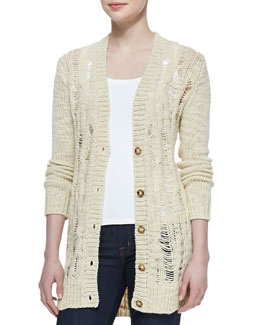 MICHAEL Michael Kors  Open-Stitch Knit Cardigan & Scoop-Neck Slim Tank