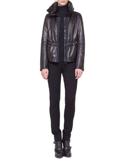 Akris punto Leather Zip Puffer Parka, Mock-Neck Top & Stretch Jersey Skinny Pants
