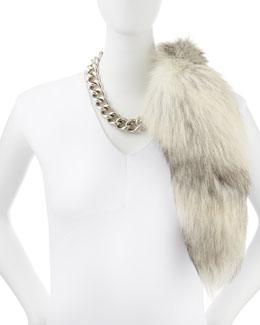 Alexander McQueen Silvertone Chain Choker Necklace & Fur Fox Tail Charm, Gray