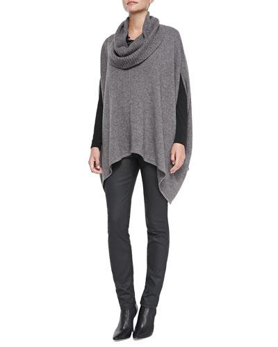 Eileen Fisher Drape-Neck Yak/Merino Poncho, Long-Sleeve Slim Jersey Top & Waxed Stretch Skinny Jeans, Women's