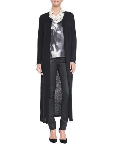 Eileen Fisher Washable Wool Crepe Extra Long Cardigan, Brushstroke-Print Long Tank & Waxed Stretch Skinny Jeans, Women's