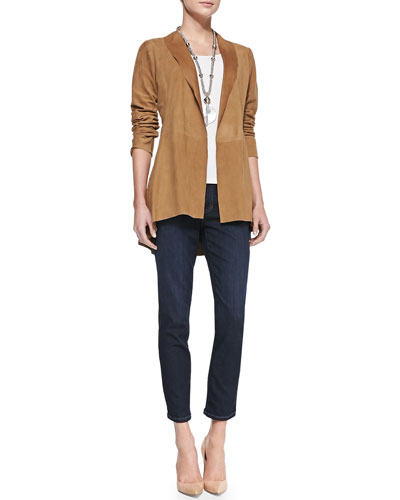 Eileen Fisher Soft Suede Long Jacket, Long Slim Camisole & Slim Stretch Ankle Jeans, Women's