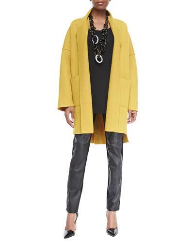 Eileen Fisher Boiled Wool Kimono Coat, Long Silk Jersey Tunic & Ponte Leather-Blocked Leggings