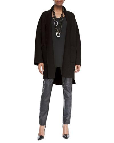 Eileen Fisher Boiled Wool Kimono Coat, Long Silk Jersey Tunic & Ponte Leather-Blocked Leggings, Women's