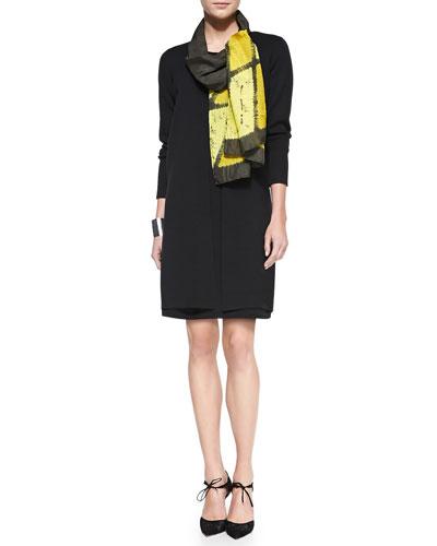 Eileen Fisher Straight Long Washable Crepe Cardigan, Crepe Layering Dress & Silk Shibori Icons Scarf, Women's