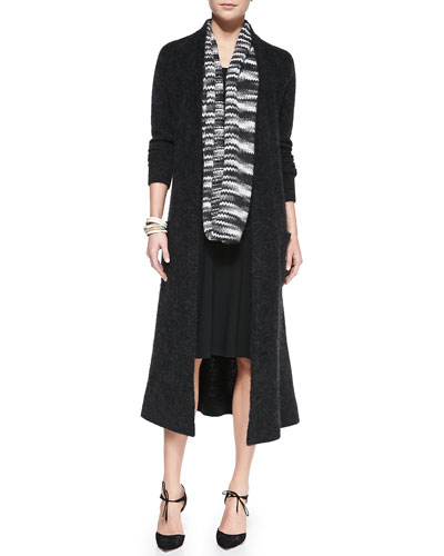 Eileen Fisher Fisher Project Plush Maxi Cardigan, Sleeveless Racerback Midi Dress & Chainette Infinity Scarf