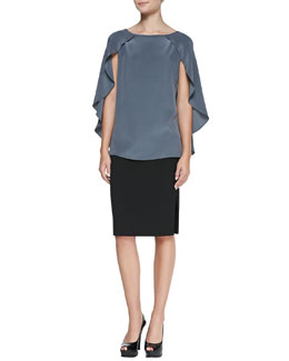Milly Nikki Cap-Sleeve Blouse & Leather-Paneled Pencil Skirt