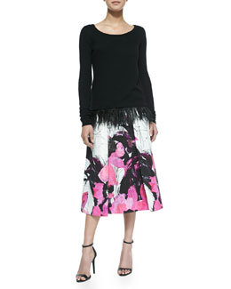 Milly Ostrich Plume Pullover Sweater & Winter Orchid-Print Tea-Length Skirt