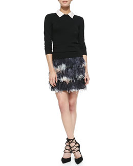Milly Lace-Collar Pullover Sweater & Feather Miniskirt