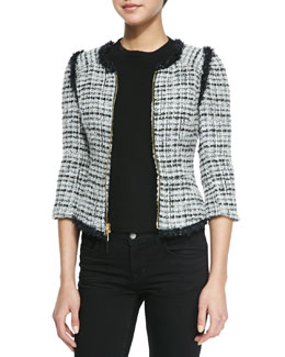 Milly Zip-Front Jacket with Fringed Trim & Funnel-Neck Tank