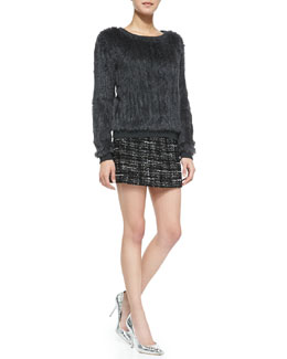 Milly Knitted Fur Sweater & Italian Tweed Miniskirt