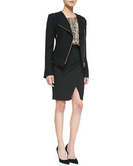 L'Agence Modern Moto Jacket, Long-Sleeve Leopard Poet Blouse & Pleated-Side Tulip Hem Skirt
