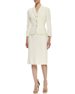 Escada Scalloped-Hem Topper Jacket & Sleeveless Split-Neck Sheath Dress