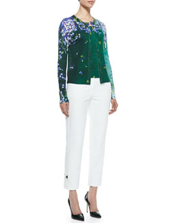 Escada Long Sleeve Floral Cardigan, Tank & Cropped Pants