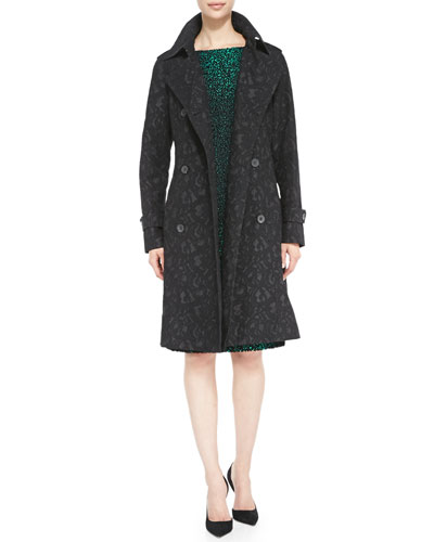 Escada Double-Breasted Patterned Trench Coat & Cap-Sleeve Sheath Dress