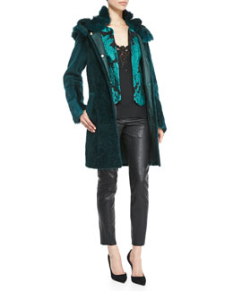 Escada Hooded Reversible Shearling Fur Coat, Lace Brocade Topper Jacket & Silk Lace-Detail Spaghetti-Strap Top