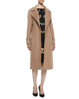 Escada Cashmere Tie-Waist Trench Coat & Sleeveless Baroque Print Dress