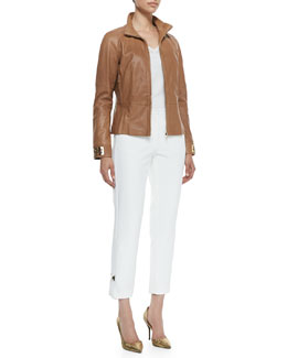 Escada Zip-Up Leather Jacket, Cap-Sleeve Knitted Yoke Top & Cropped Pants