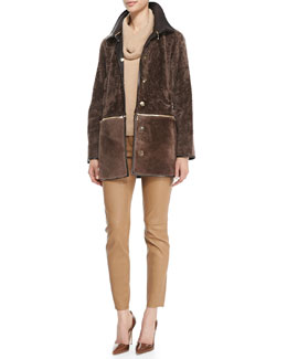 Escada Fur Jacket with Zip-Off Bottom, Long-Sleeve Cowl Cashmere Sweater & Skinny Lambskin Leather Pants