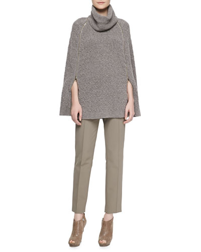Escada Knit Zip-Arm Poncho & Seam-Front Straight-Leg Pants