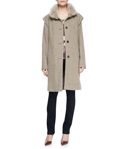 Escada Removable-Sleeves Fur-Trim Coat, Floral-Print Knit 3/4-Sleeve Top & Skinny-Leg Stretch-Denim Pants