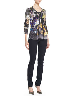 Escada Abstract Floral-Print Cardigan, Abstract Floral-Print Tee & Skinny-Leg Stretch-Denim Pants