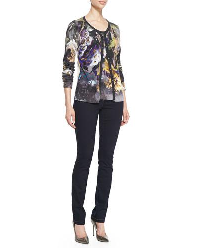 Escada Abstract Floral-Print Cardigan, Abstract Floral-Print Tee & Skinny-Leg Stretch-Denim Pants