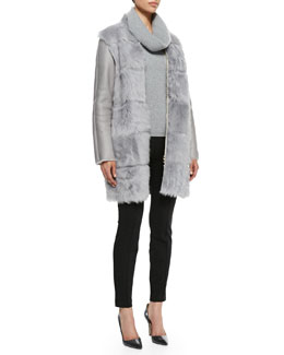 Escada Shearling Fur-Front Zip Coat, Loose-Turtleneck Cashmere Sweater & Seamed Straight-Leg Pants