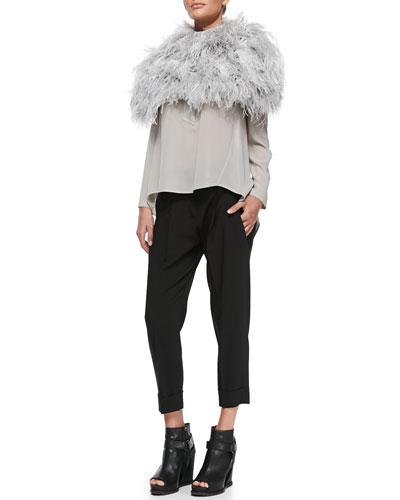 Brunello Cucinelli Ostrich Feather Knit Capelet, Monili-Trim Henley Top, Pebbled Leather Belt & Double-Pleat Carrot Pants