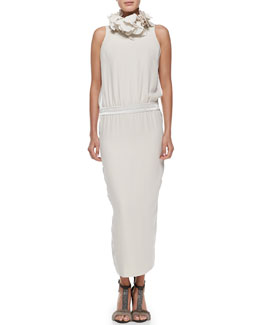 Brunello Cucinelli Sleeveless Mock-Neck Silk Gown & Silk Petal Collar Necklace