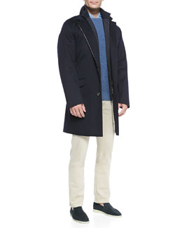 Loro Piana Martingala Storm System Coat, Girocollo Cashmere Sweater, Andre Denim Button-Down Shirt & 5-Pocket Denim Jeans