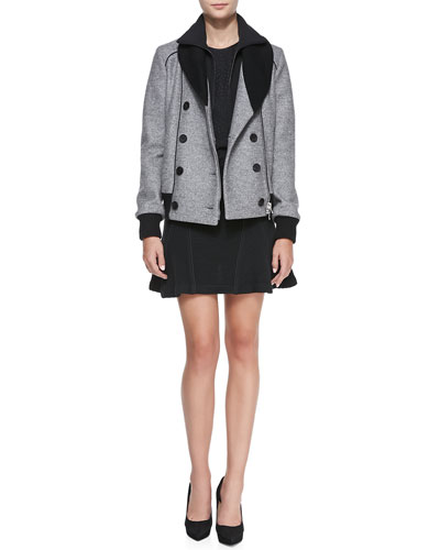 Veronica Beard Scuba Dickey Bomber Jacket, Silk Dotted Jacquard Long-Sleeve Tee & Ribbed Knit Flounce Skirt