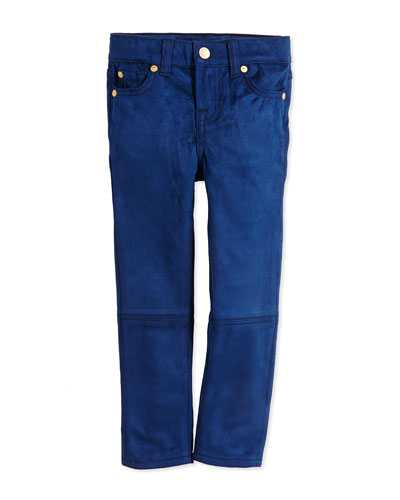 7 For All Mankind Girls' Skinny Sueded Jeans, Navy